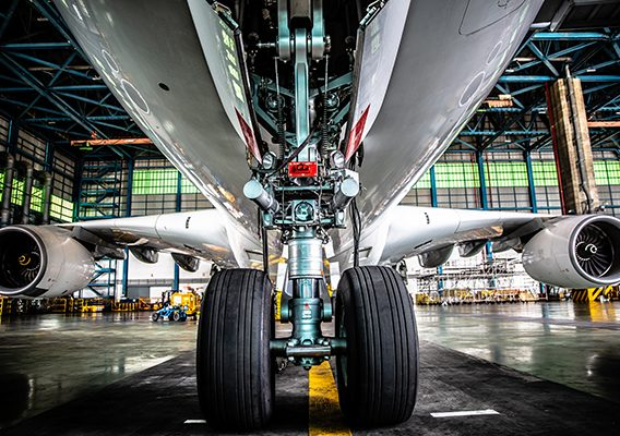 Airplane in Hangar and landing gear